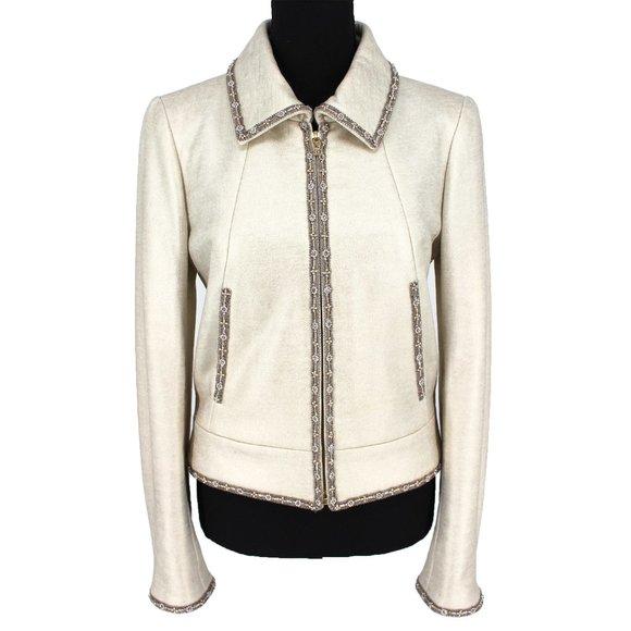 CHANEL Antiqued Pearl Bead-Trim Knit CC Zip Cashmere Jacket France size 38 US 6